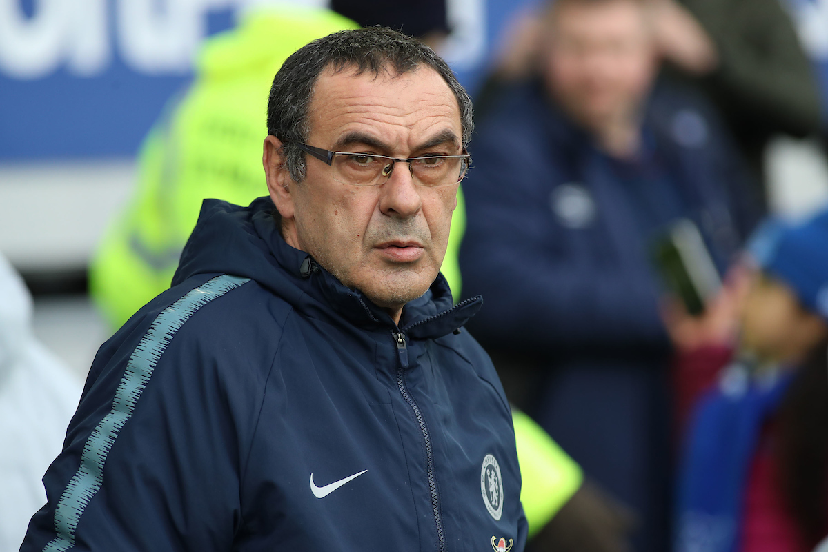 Maurizio Sarri manager of Chelsea on the touchline prior to the Premier League match against Everton at Goodison Park, Liverpool. Picture by Michael Sedgwick/Focus Images Ltd +44 7900 363072 17/03/2019