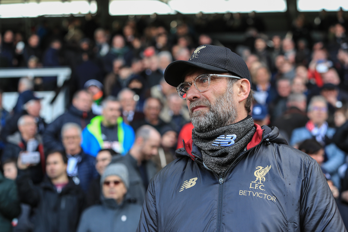 Jurgen Klopp manager of Liverpool during the Premier League match at Craven Cottage, London Picture by Romena Fogliati/Focus Images Ltd 07576143919 17/03/2019