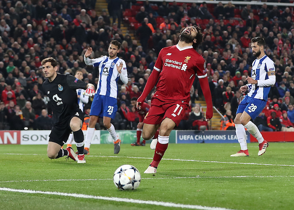 Mohamed Salah of Liverpool shows his frustration after missing a chance to score against FC Porto during the UEFA Champions League match at Anfield, Liverpool. Picture by Michael Sedgwick/Focus Images Ltd +44 7900 363072 06/03/2018