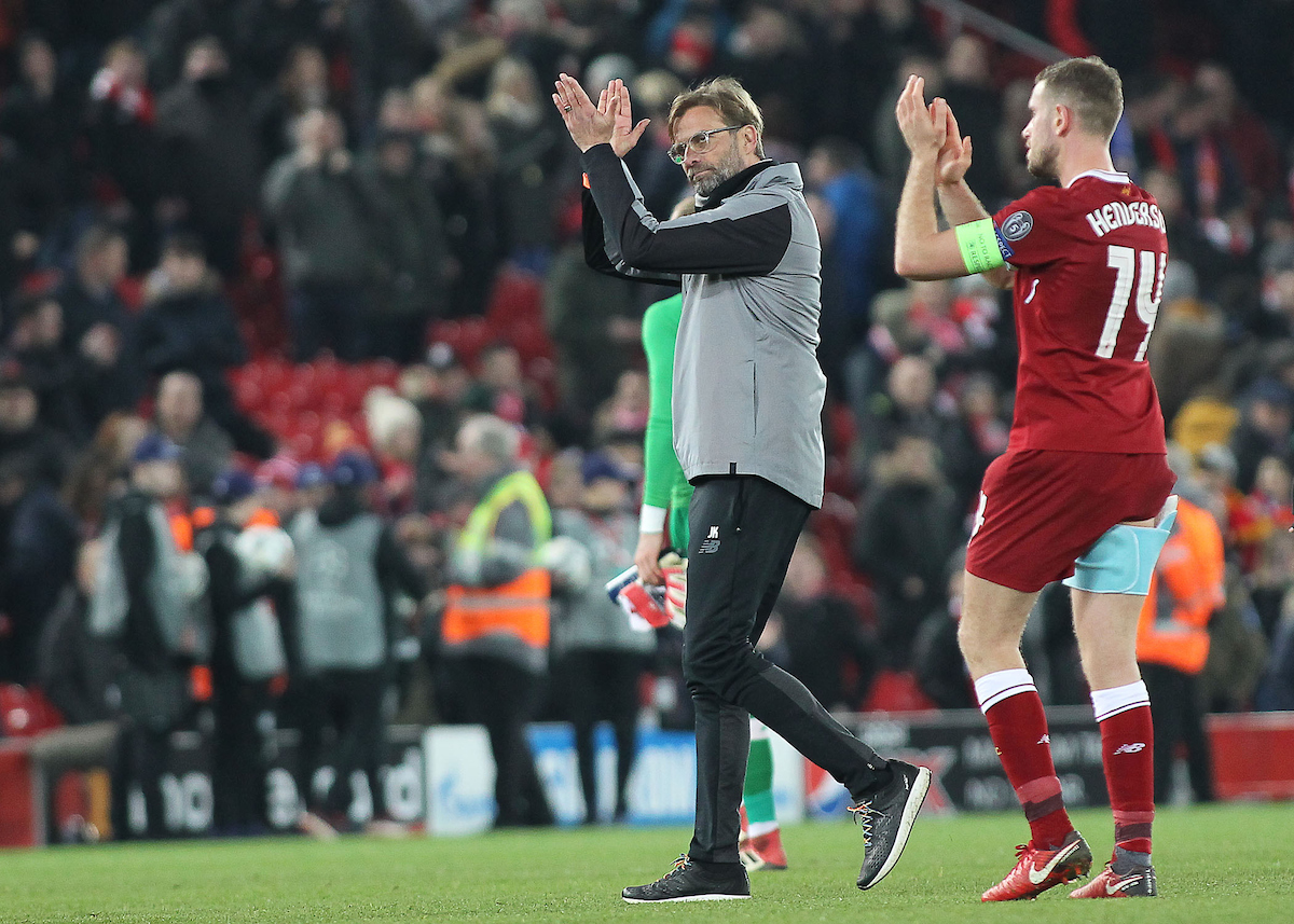 Jurgen Klopp manager of Liverpool applauds the fans after the UEFA Champions League match against FC Porto at Anfield, Liverpool.  Picture by Michael Sedgwick/Focus Images Ltd +44 7900 363072  06/03/2018
