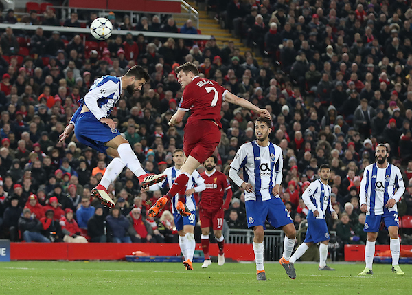 James Milner of Liverpool gets a header in on goal during the UEFA Champions League match against FC Porto, at Anfield, Liverpool. Picture by Michael Sedgwick/Focus Images Ltd +44 7900 363072 06/03/2018