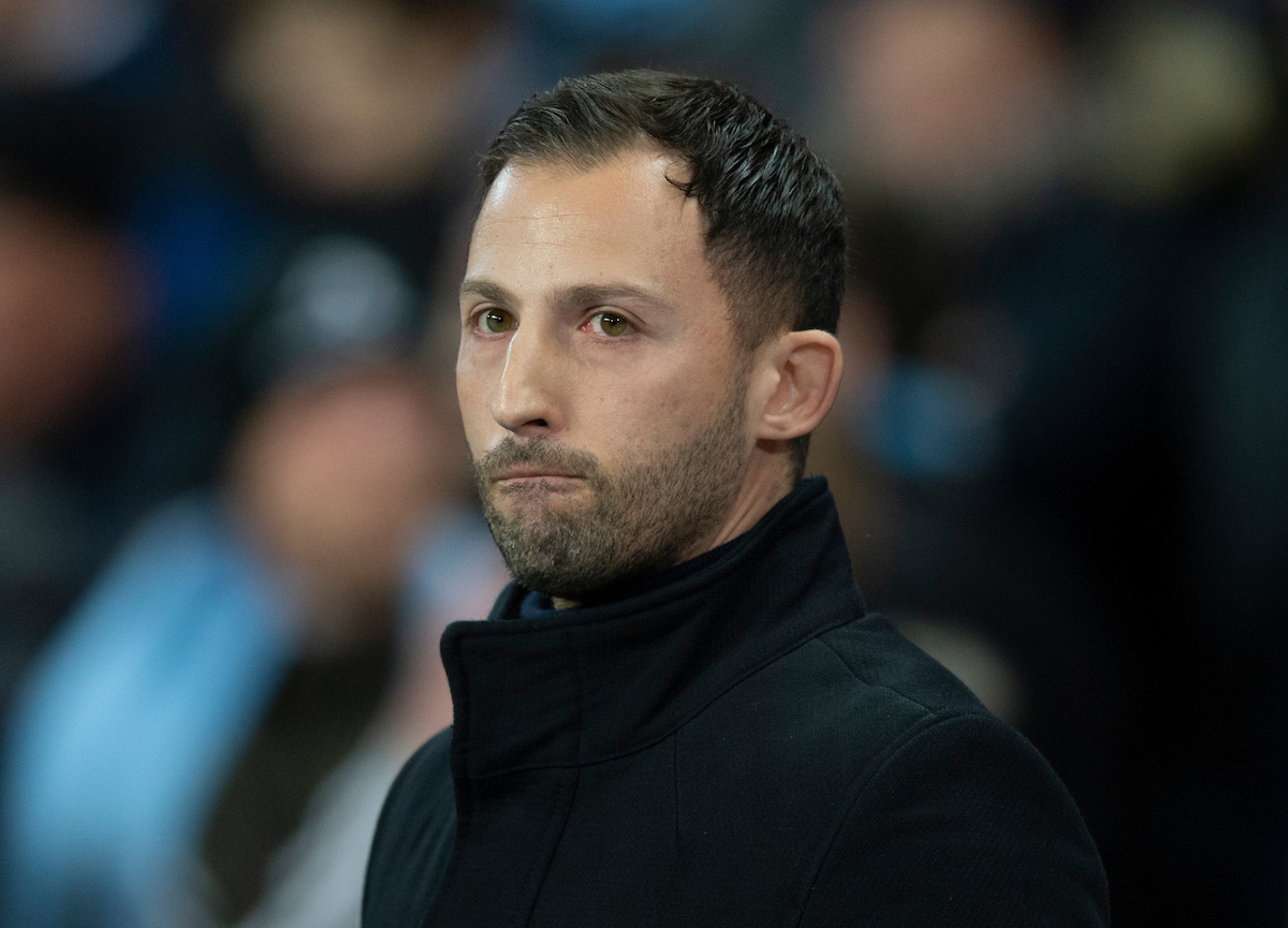 Schalke manager Domenico Tedesco before the UEFA Champions League match at the Etihad Stadium, Manchester Picture by Russell Hart/Focus Images Ltd 07791 688 420 12/03/2019