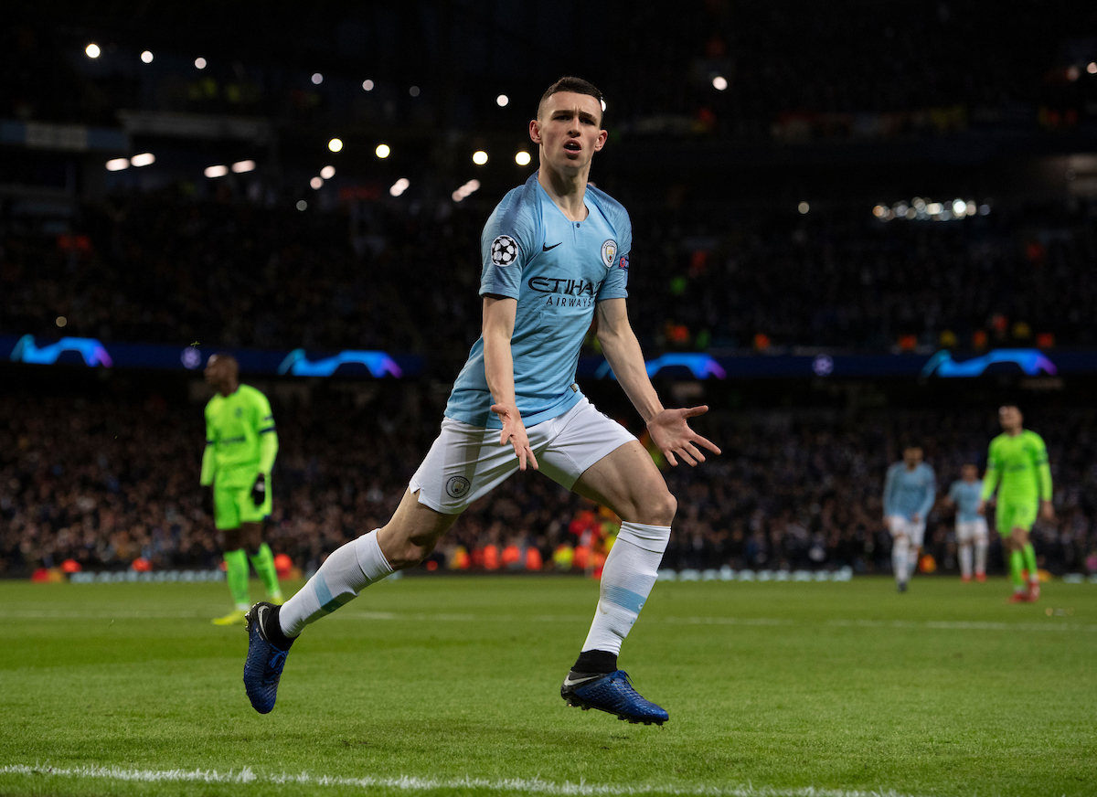 Phil Foden of Manchester City celebrates after scoring his team's 6th goal to make it 6-0 during the UEFA Champions League match at the Etihad Stadium, Manchester Picture by Russell Hart/Focus Images Ltd 07791 688 420 12/03/2019