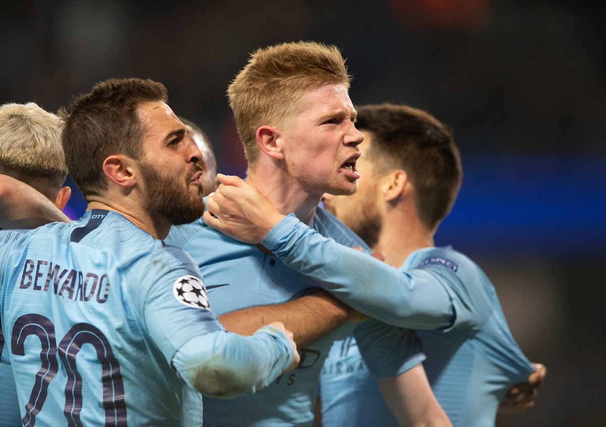 Kevin De Bruyne of Manchester City celebrates after team-mate Sergio Aguero made it 4-2 to their team during the second leg of the UEFA Champions League quarter-final match at the Etihad Stadium, Manchester Picture by Russell Hart/Focus Images Ltd 07791 688 420 17/04/2019