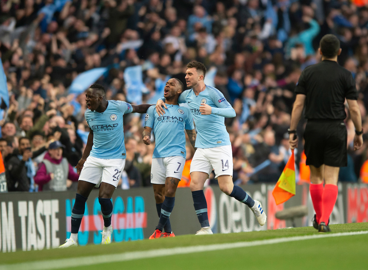 Raheem Sterling of Manchester City celebrates after scoring his team's 1st goal to make it 1-0 during the second leg of the UEFA Champions League quarter-final match at the Etihad Stadium, Manchester Picture by Russell Hart/Focus Images Ltd 07791 688 420 17/04/2019