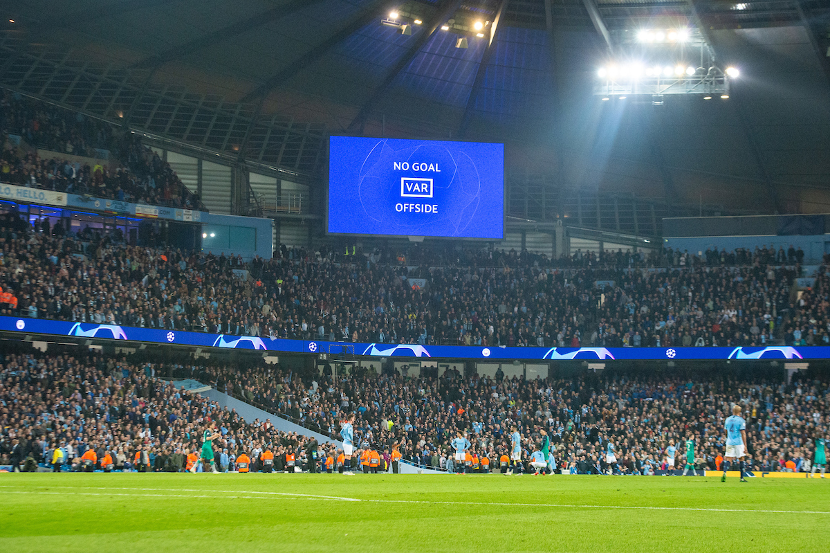 VAR rules out a late winner for Manchester City as a goal from Raheem Sterling of is ruled out for offside during the second leg of the UEFA Champions League quarter-final match at the Etihad Stadium, Manchester Picture by Matt Wilkinson/Focus Images Ltd 07814 960751 17/04/2019