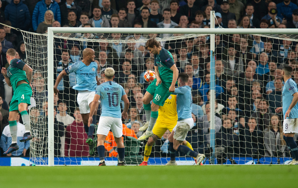 Fernando Llorente of Tottenham Hotspur scores his team's 3rd goal to make it 4-3 to Manchester City during the second leg of the UEFA Champions League quarter-final match at the Etihad Stadium, Manchester Picture by Russell Hart/Focus Images Ltd 07791 688 420 17/04/2019
