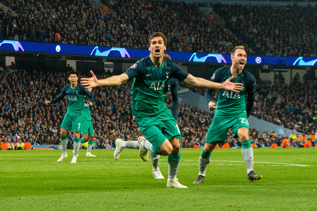 Fernando Llorente of Tottenham Hotspur celebrates after scoring during the second leg of the UEFA Champions League quarter-final match at the Etihad Stadium, Manchester Picture by Matt Wilkinson/Focus Images Ltd 07814 960751 17/04/2019