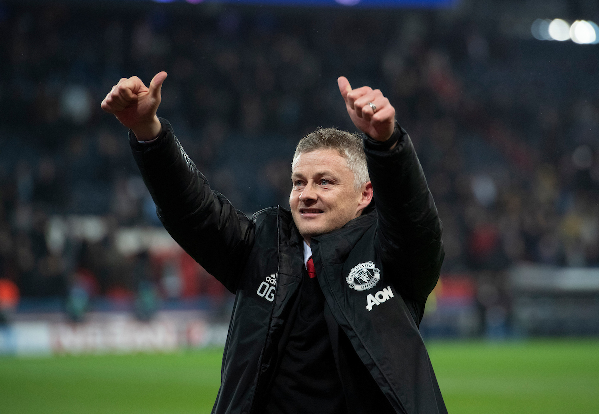 Manchester United manager Ole Gunnar Solskjaer celebrates after guiding his team to victory over Paris Saint-Germain during the UEFA Champions League match at Parc des Princes, Paris Picture by Russell Hart/Focus Images Ltd 07791 688 420 06/03/2019
