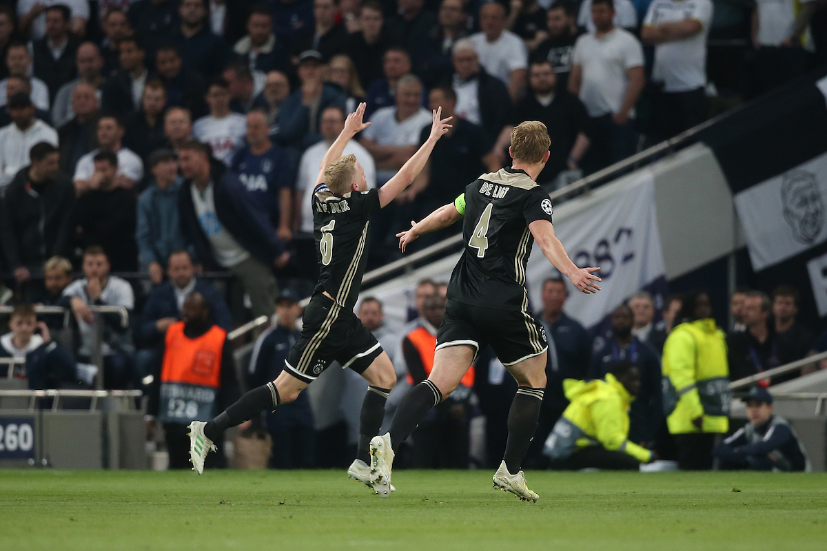 Donny van de Beek of Ajax celebrates scoring his side's 1st goal during the UEFA Champions League Semi-final match at Tottenham Hotspur Stadium, London Picture by Paul Chesterton/Focus Images Ltd +44 7904 640267 30/04/2019