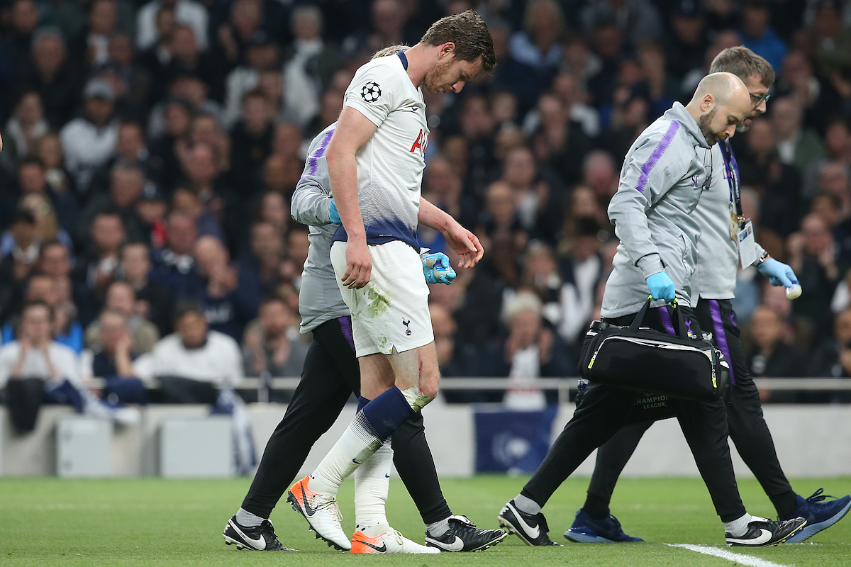 Jan Vertonghen of Tottenham Hotspur requires treatment but eventually has to leave the match during the UEFA Champions League Semi-final match at Tottenham Hotspur Stadium, London Picture by Paul Chesterton/Focus Images Ltd +44 7904 640267 30/04/2019