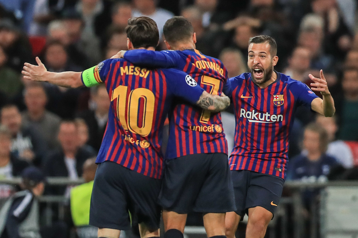Philippe Coutinho of FC Barcelona celebrates scoring their first goal during the UEFA Champions League match at Wembley Stadium, London Picture by Romena Fogliati/Focus Images Ltd 07576143919 03/10/2018