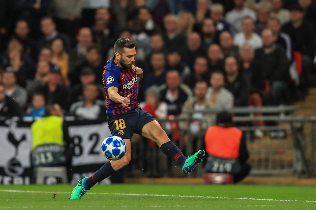 Jordi Alba of FC Barcelona during the UEFA Champions League match at Wembley Stadium, London Picture by Romena Fogliati/Focus Images Ltd 07576143919 03/10/2018