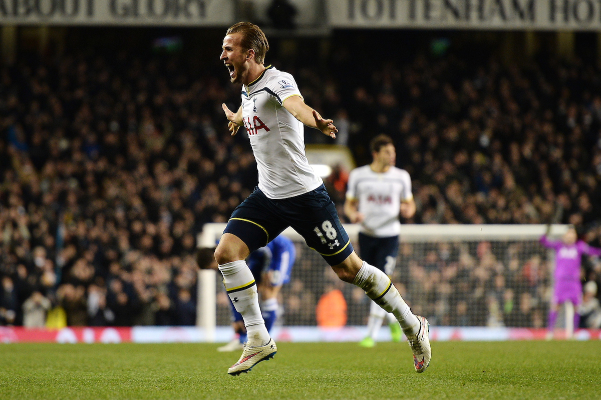 Harry Kane of Tottenham Hotspur celebrates scoring his sides first goal to make the scoreline 1-1 during the Barclays Premier League match between Tottenham Hotspur and Chelsea  at White Hart Lane, London Picture by Richard Blaxall/Focus Images Ltd +44 7853 364624 01/01/2015