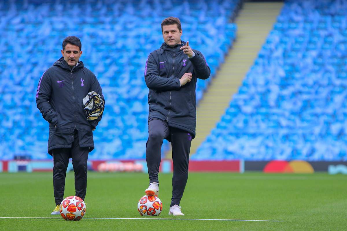 Jesus Perez (assistant coach) l & Mauricio Pochettino (r) of Tottenham Hotspur during training at the Etihad Stadium, Manchester Picture by Steve McCormick/Focus Images Ltd 07545 862647 16/04/2019