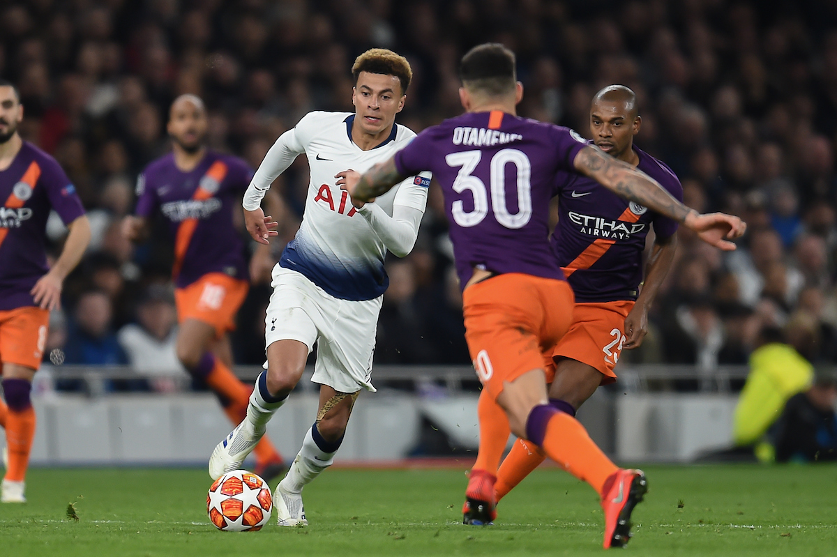 Dele Alli of Tottenham Hotspur takes on Nicolás Otamendi of Manchester City during the UEFA Champions League match at the Tottenham Hotspur Stadium, London Picture by Martyn Haworth/Focus Images Ltd 07463250714 09/04/2019
