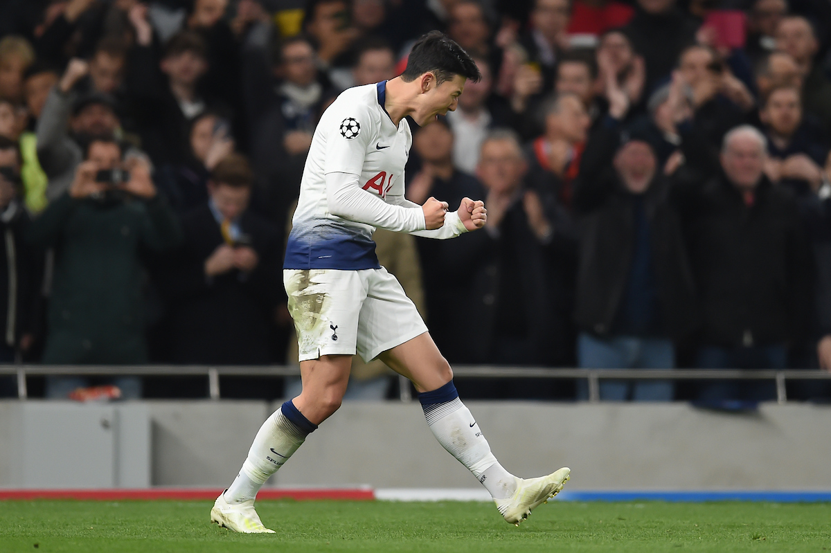 Son Heung-Min of Tottenham Hotspur celebrates after making it 1:0 during the UEFA Champions League match at the Tottenham Hotspur Stadium, London Picture by Martyn Haworth/Focus Images Ltd 07463250714 09/04/2019