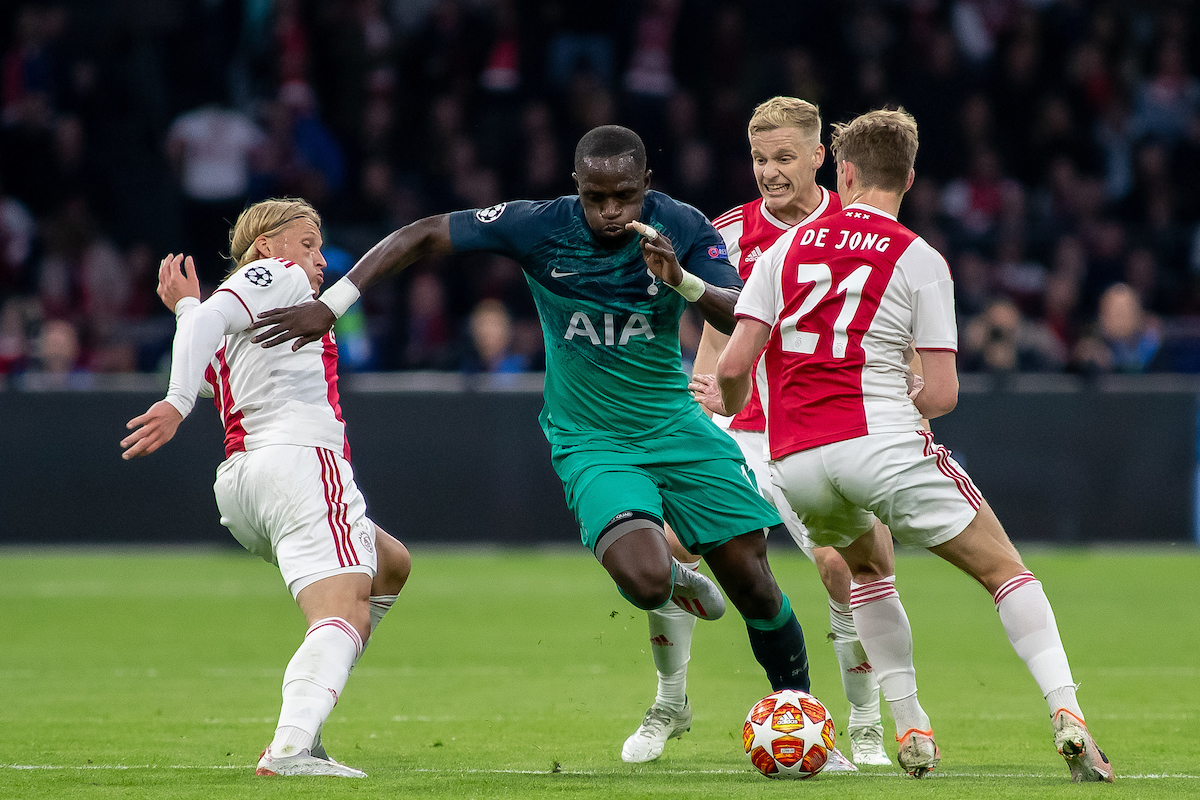***NETHERLANDS OUT*** Kasper Dolberg, Donny van de Beek, Frankie de Jong of Ajax Amsterdam and Moussa Sissoko of Tottenham Hotspur during the UEFA Champions League Semi-Final match at Amsterdam Arena, Amsterdam Picture by Sjoerd Tullenaar/Focus Images Ltd +31655744888 08/05/2019
