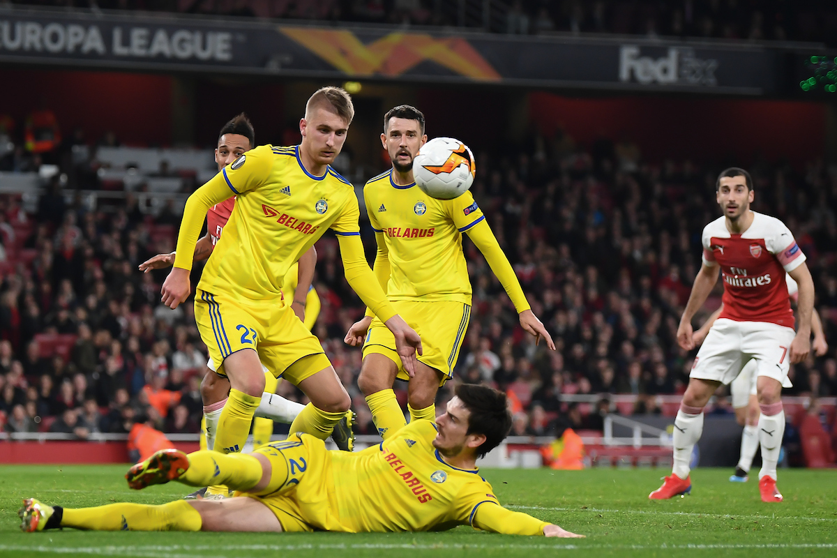 FC BATE Borisov players defending their goal during the UEFA Europa League match at the Emirates Stadium, London Picture by Martyn Haworth/Focus Images Ltd 07463250714 21/02/2019