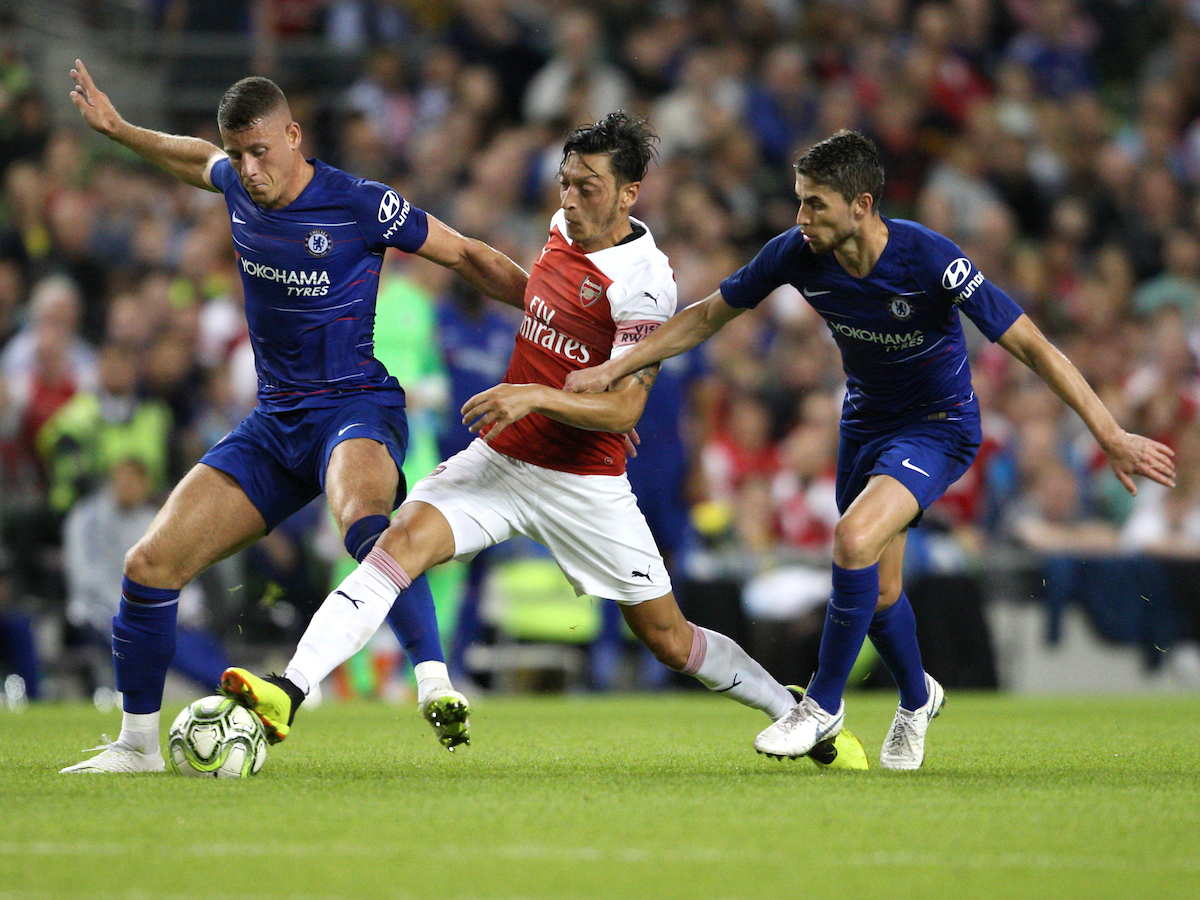 Mesut Ozil of Arsenal and Ross Barkley & Jorginho of Chelsea during the International Champions Cup match at the Aviva Stadium, Dublin Picture by Yannis Halas/Focus Images Ltd +353 8725 82019 01/08/2018