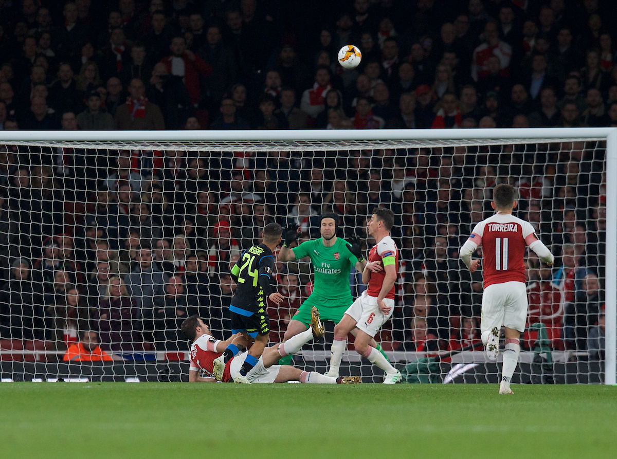 Lorenzo Insigneputs a good chance over the bar during the first leg of the UEFA Europa League quarter-final match at the Emirates Stadium, London Picture by Alan Stanford/Focus Images Ltd +44 7915 056117 11/04/2019