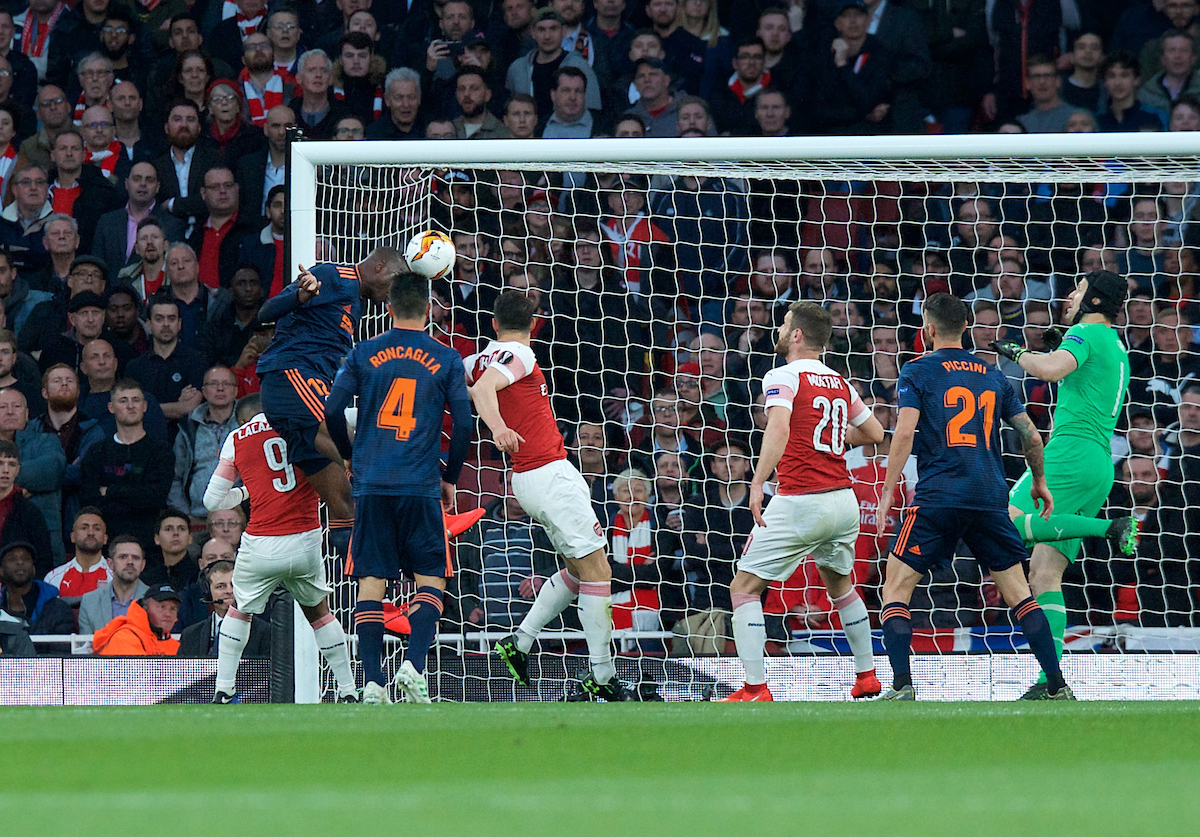 Mouctar Diakhaby of Valencia (left) scores the opening goal during the UEFA Europa League Semi-final match at the Emirates Stadium, London Picture by Alan Stanford/Focus Images Ltd +44 7915 056117 02/05/2019