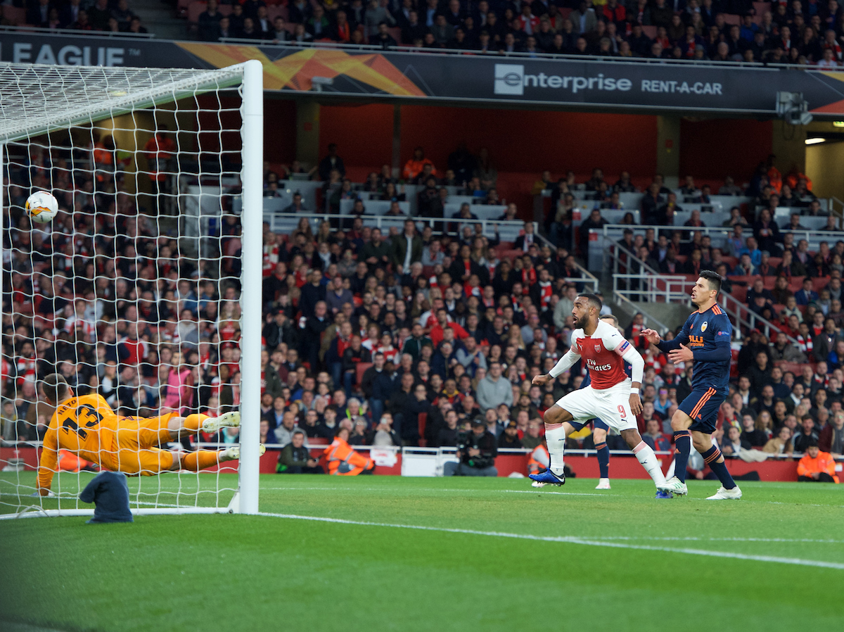 Alexandre Lacazette of Arsenal scores his side's 2nd goal to make it 2-1 during the UEFA Europa League Semi-final match at the Emirates Stadium, London Picture by Alan Stanford/Focus Images Ltd +44 7915 056117 02/05/2019