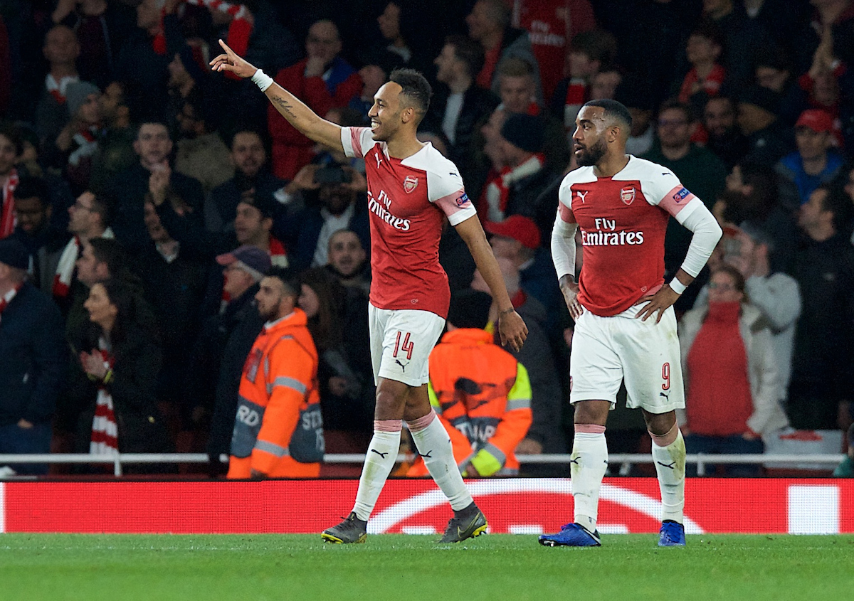 Pierre-Emerick Aubameyang of Arsenal (14) celebrates with Alexandre Lacazette of Arsenal after scoring his side's 3rd goal to make it 3-1 during the UEFA Europa League Semi-final match at the Emirates Stadium, London Picture by Alan Stanford/Focus Images Ltd +44 7915 056117 02/05/2019