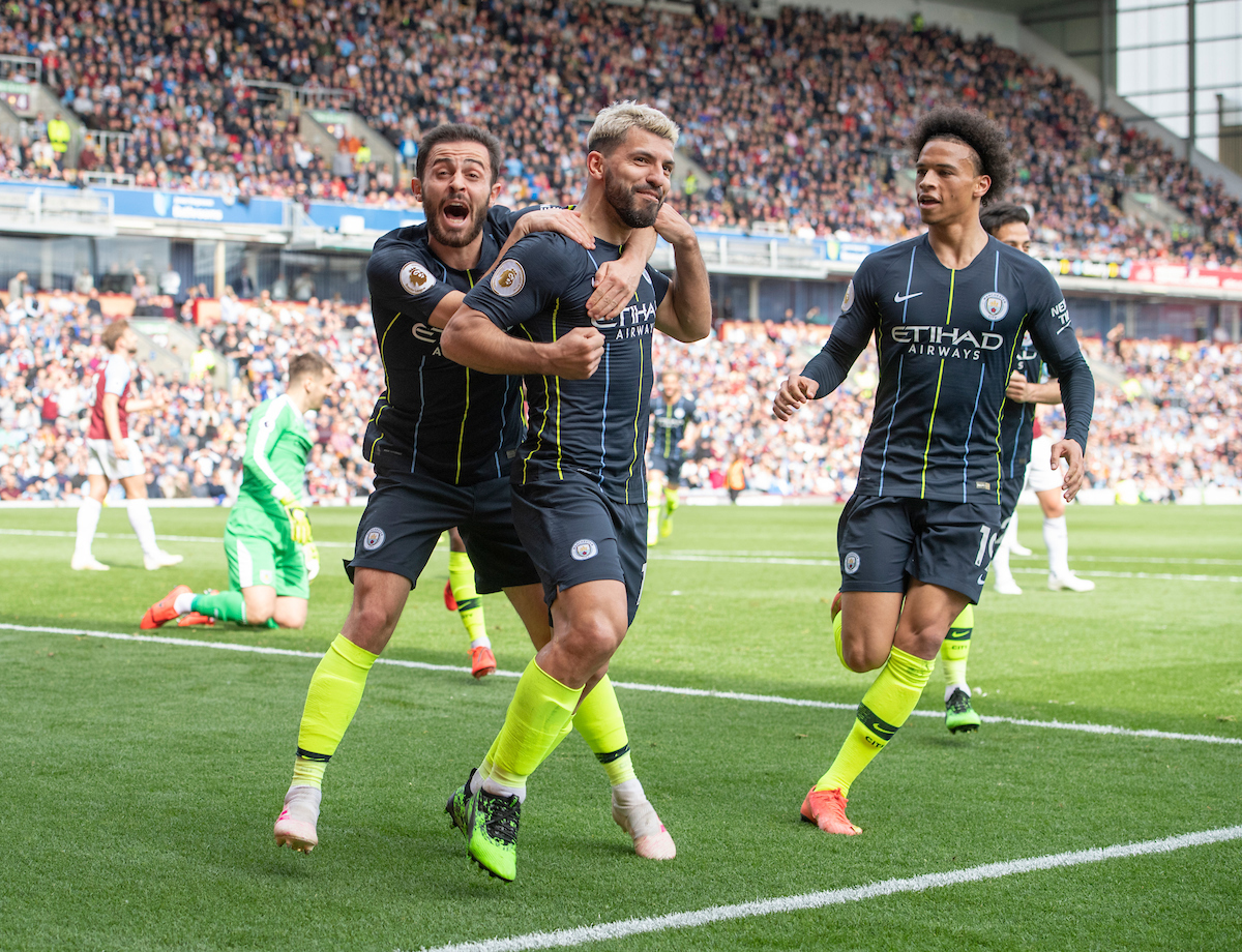 Sergio Aguero of Manchester City celebrates after scoring his team's 1st goal to make it 1-0 during the Premier League match at Turf Moor, Burnley Picture by Russell Hart/Focus Images Ltd 07791 688 420 28/04/2019