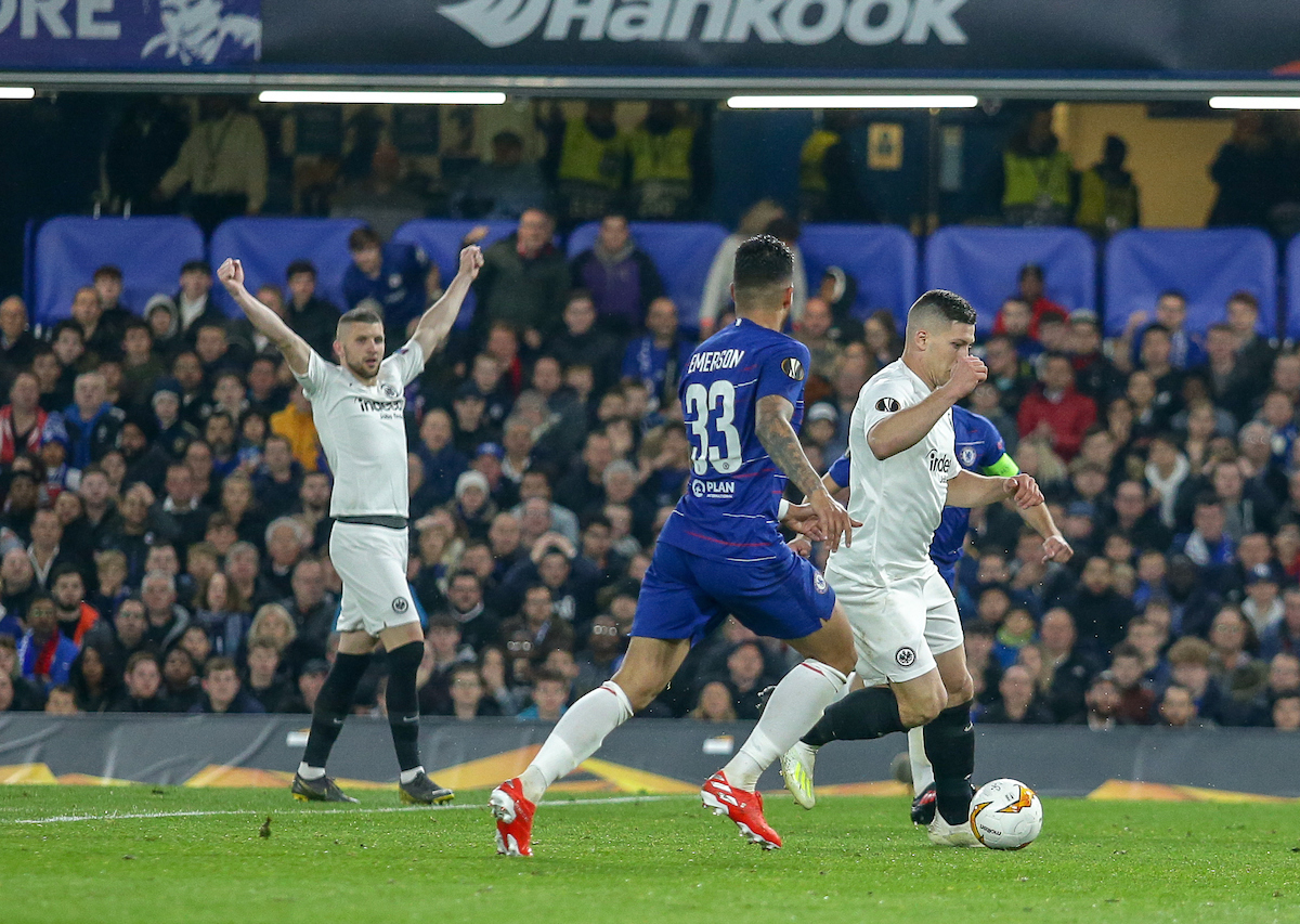 Luka Jović of Eintracht Frankfurt scores during the UEFA Europa League Semi-Final match at Stamford Bridge, London Picture by Steve O'Sullivan/Focus Images Ltd 07572544769 09/05/2019