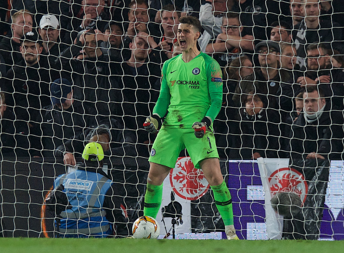 Kepa Arrizabalaga goalkeeper of Chelsea saves his first penalty during the UEFA Europa League Semi-Final match at Stamford Bridge, London Picture by Alan Stanford/Focus Images Ltd +44 7915 056117 09/05/2019