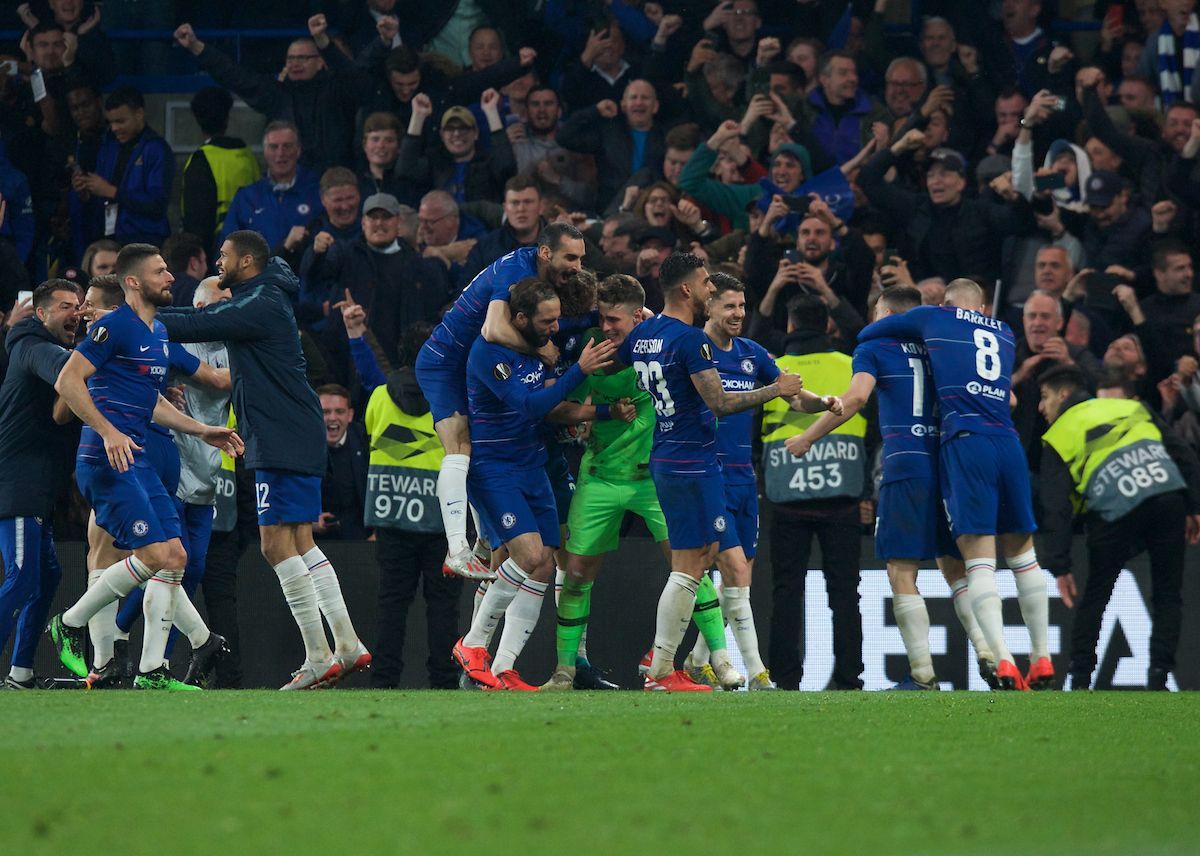 Kepa Arrizabalaga goalkeeper of Chelsea saves his second penalty and is mobbed by his team mates after winning the penalty shoot out during the UEFA Europa League Semi-Final match at Stamford Bridge, London Picture by Alan Stanford/Focus Images Ltd +44 7915 056117 09/05/2019