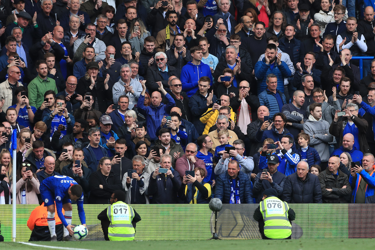 Chelsea fans reacts as Eden Hazard of Chelsea takes a corner kick during the Premier League match at Stamford Bridge, London Picture by Romena Fogliati/Focus Images Ltd 07576143919 05/05/2019