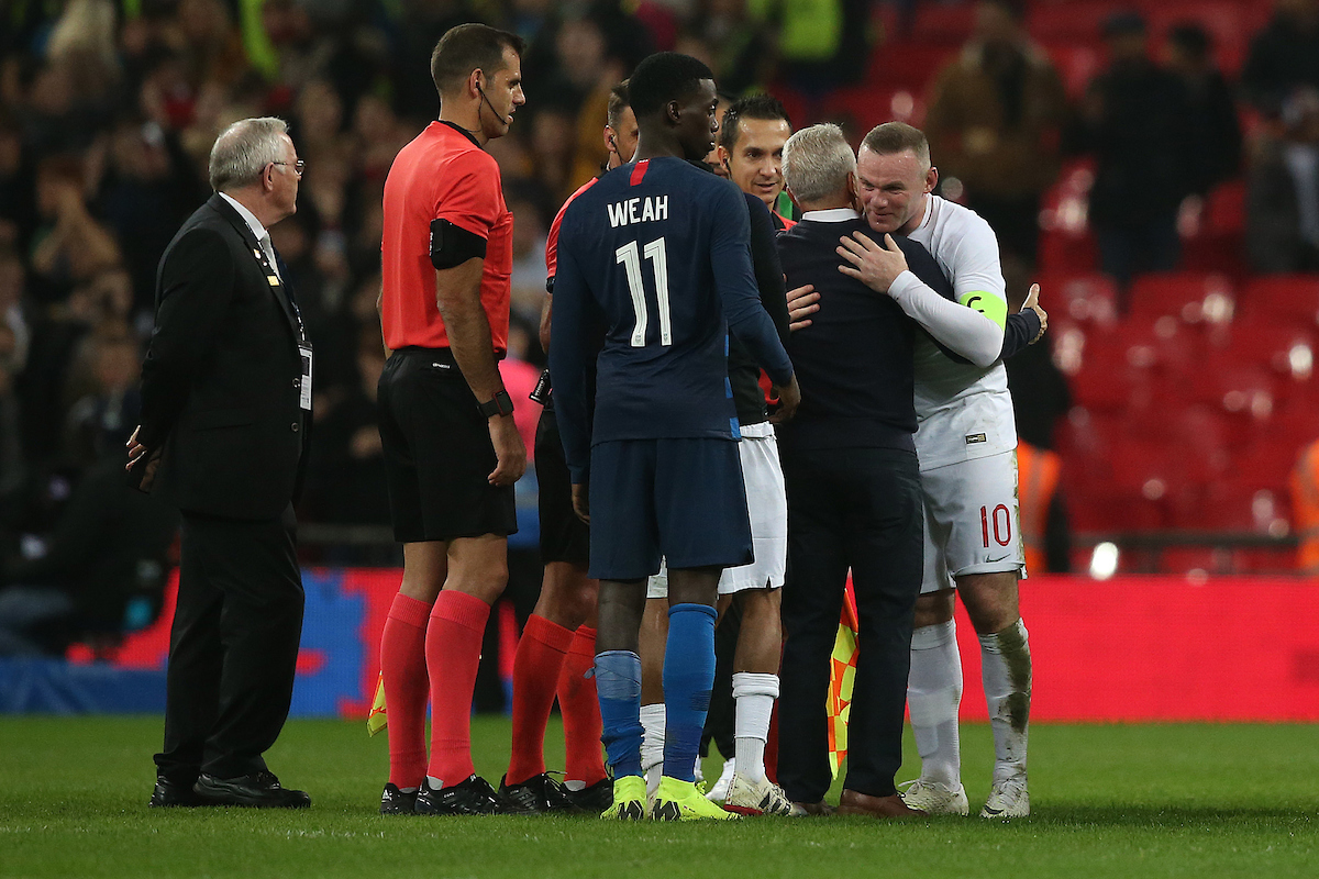 USA Head Coach Dave Sarachan and Wayne Rooney of England at the end of the International Friendly match at Wembley Stadium, London Picture by Paul Chesterton/Focus Images Ltd +44 7904 640267 15/11/2018