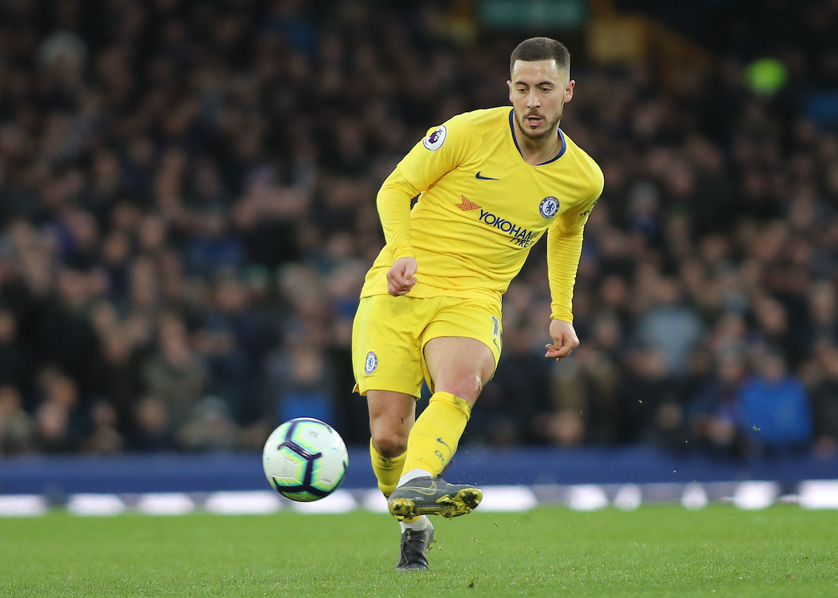 Eden Hazard of Chelsea in action against Everton during the Premier League match at Goodison Park, Liverpool. Picture by Michael Sedgwick/Focus Images Ltd +44 7900 363072 17/03/2019