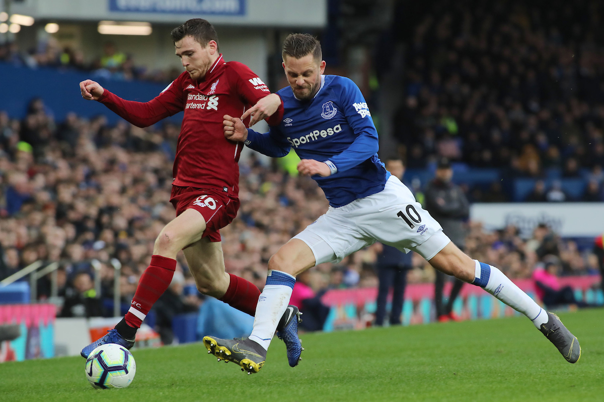 Gylfi Sigurosson of Everton and Andrew Robertson of Liverpool in action during the Premier League match at Goodison Park, Liverpool. Picture by Michael Sedgwick/Focus Images Ltd +44 7900 363072 03/03/2019