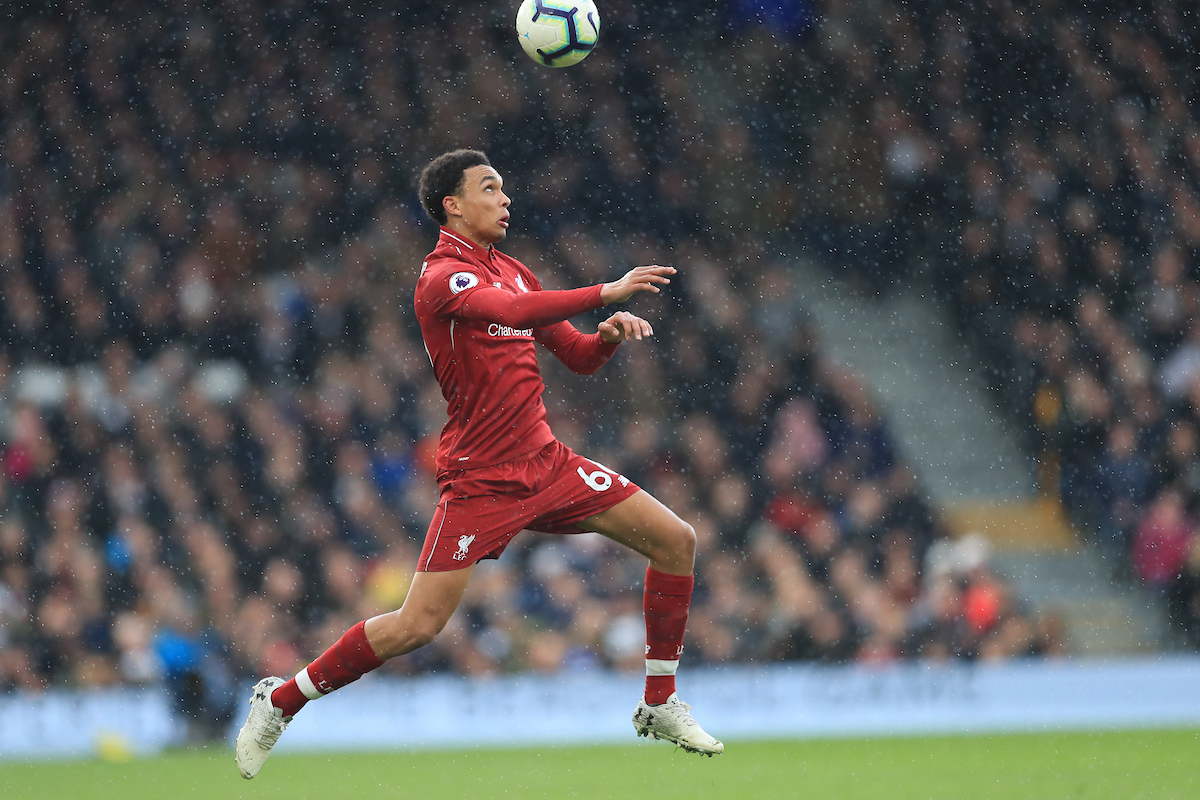 Trent Alexander-Arnold of Liverpool during the Premier League match at Craven Cottage, London Picture by Romena Fogliati/Focus Images Ltd 07576143919 17/03/2019