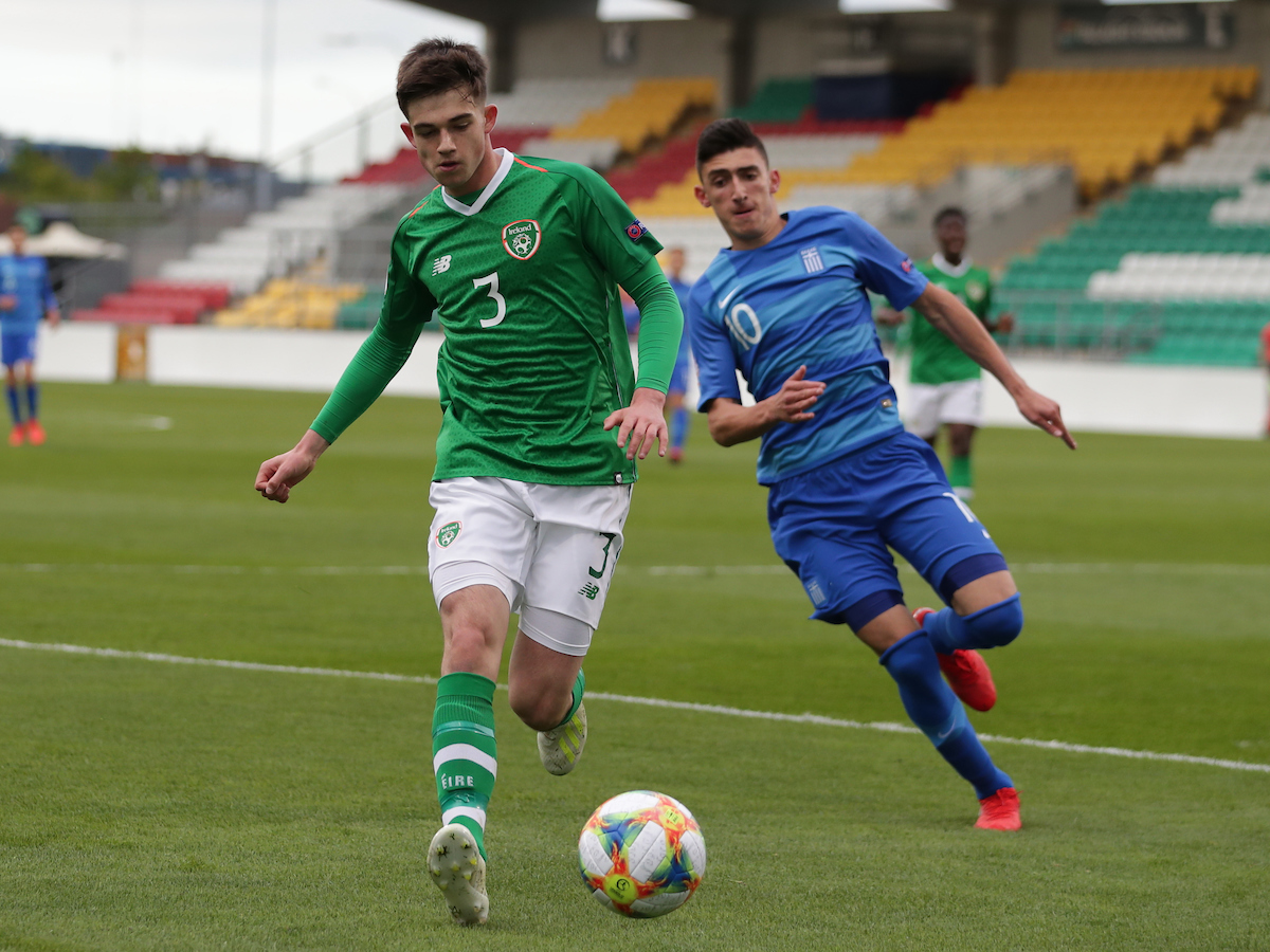 Walter James Byrne Furlong of Republic of Ireland and Vasilis Sourlis of Greece during the UEFA Euro U17 Championship match at Tallaght Stadium, Tallaght Picture by Yannis Halas/Focus Images Ltd +353 8725 82019 03/05/2019