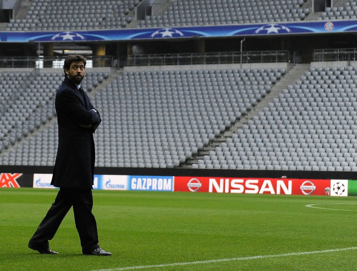 Andrea Agnelli, president of Juventus walks around Allianz Arena, Munich Picture by Stefano Gnech/Focus Images Ltd +39 333 1641678 15/03/2016