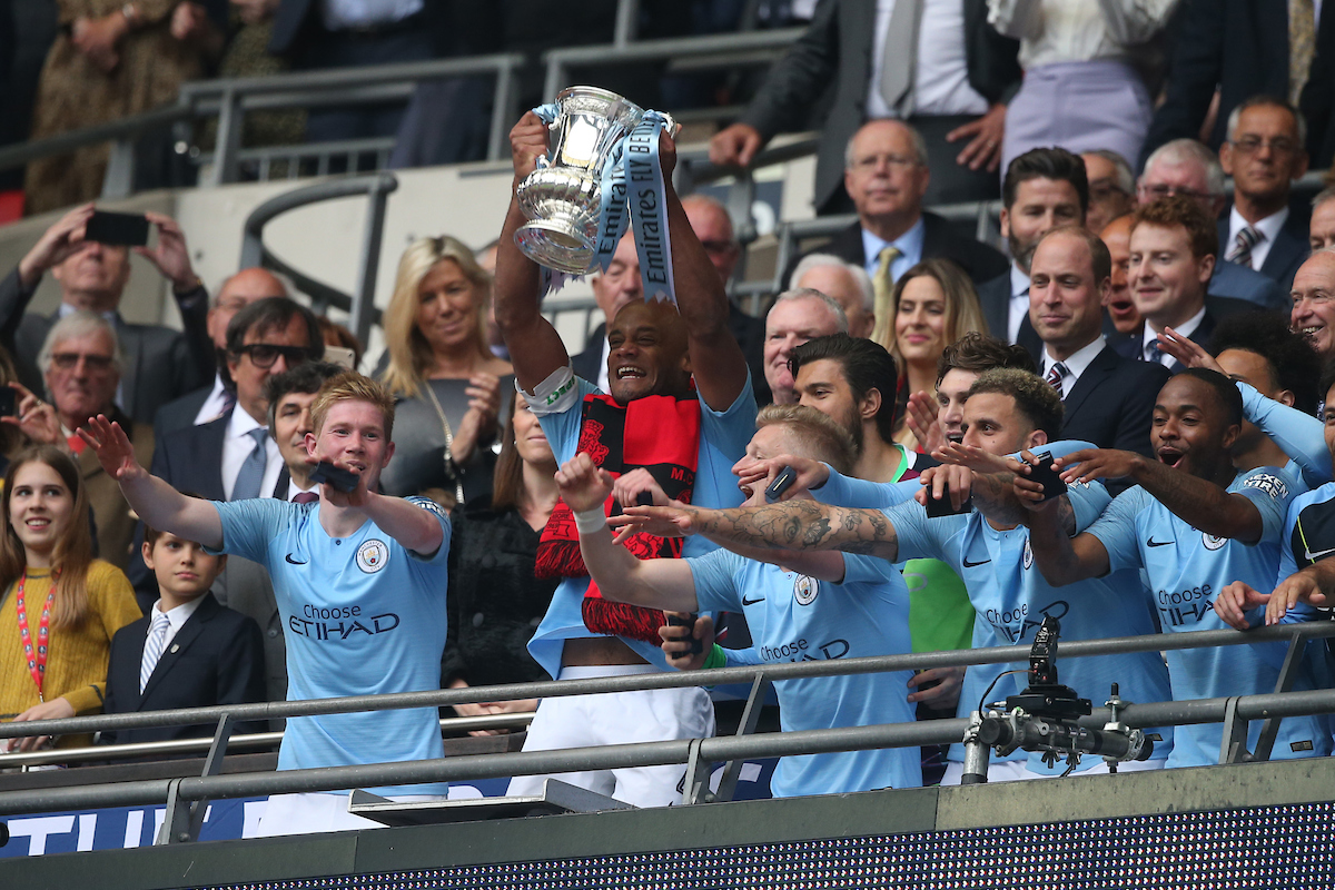 The Manchester City players lift the trophy at the end of the FA Cup Final at Wembley Stadium, London Picture by Paul Chesterton/Focus Images Ltd +44 7904 640267 18/05/2019