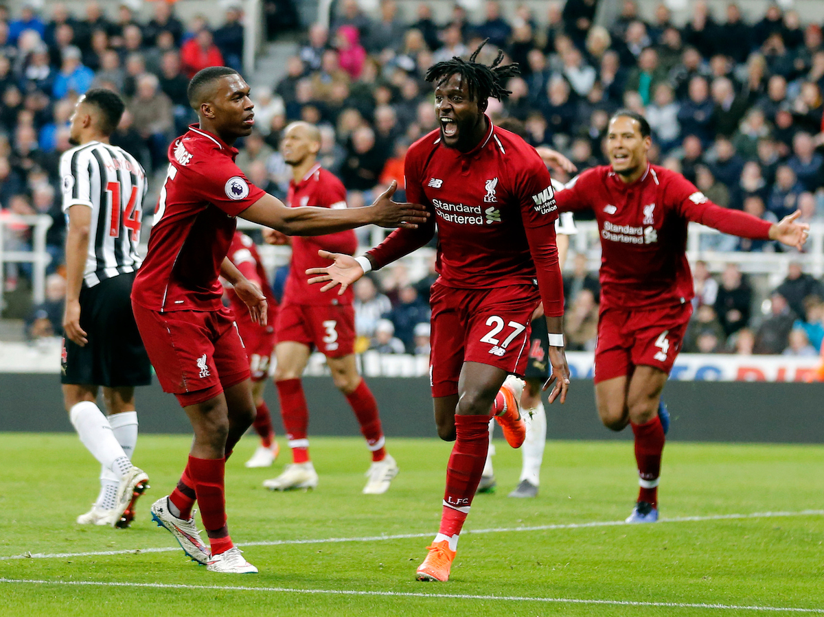 Divock Origi (27) of Liverpool celebrates scoring to make 2-3 during the Premier League match at St. James's Park, Newcastle Picture by Simon Moore/Focus Images Ltd 07807 671782 04/05/2019