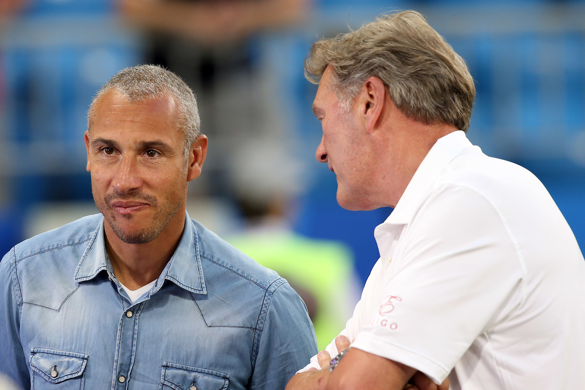 Henrik Larsson and Glen Hoddle at the end of the 2018 FIFA World Cup Quarter-Final match at Samara Arena, Samara Picture by Paul Chesterton/Focus Images Ltd +44 7904 640267 07/07/2018