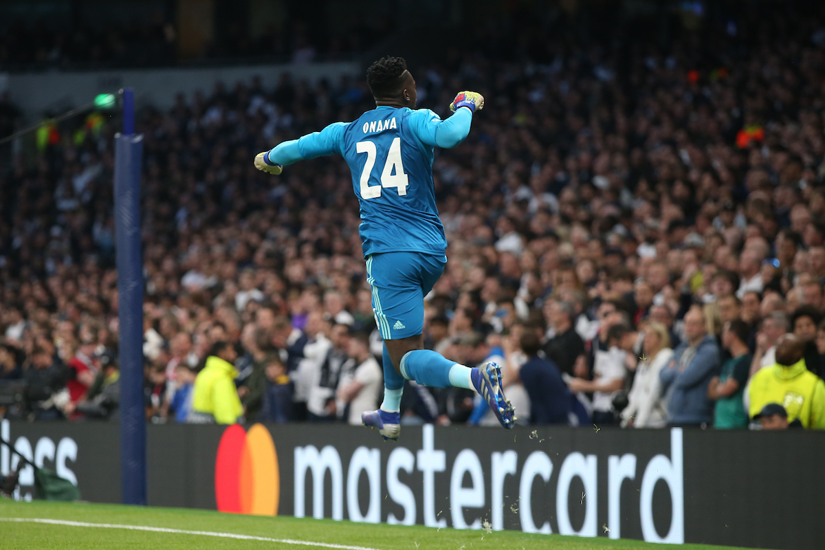 Andre Onana of Ajax celebrates his side's 1st goal during the UEFA Champions League Semi-final match at Tottenham Hotspur Stadium, London Picture by Paul Chesterton/Focus Images Ltd +44 7904 640267 30/04/2019