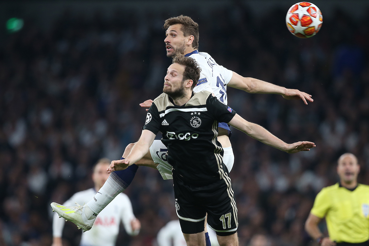 Daley Blind of Ajax and Fernando Llorente of Tottenham Hotspur in action during the UEFA Champions League Semi-final match at Tottenham Hotspur Stadium, London Picture by Paul Chesterton/Focus Images Ltd +44 7904 640267 30/04/2019