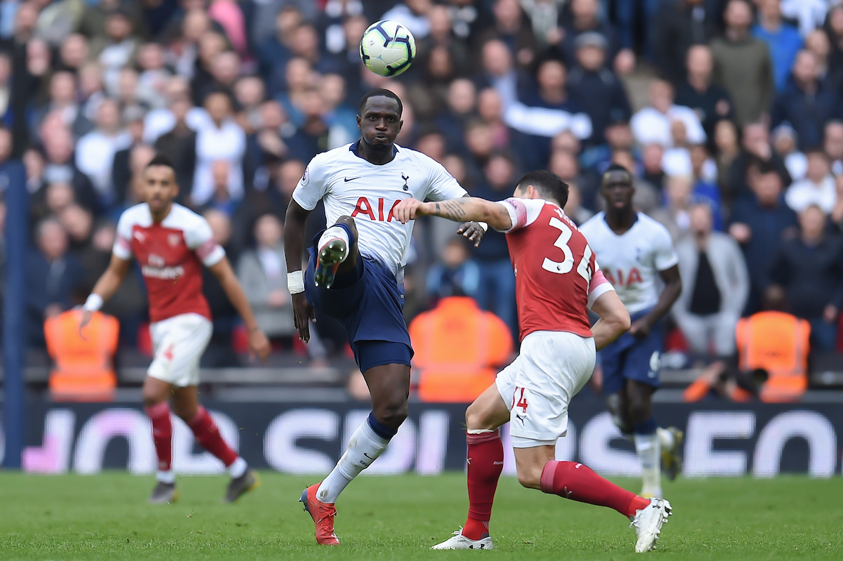 Moussa Sissoko of Tottenham Hotspur beats Granit Xhaka of Arsenal to the ball during the Premier League match at Wembley Stadium, London Picture by Martyn Haworth/Focus Images Ltd 07463250714 02/03/2019