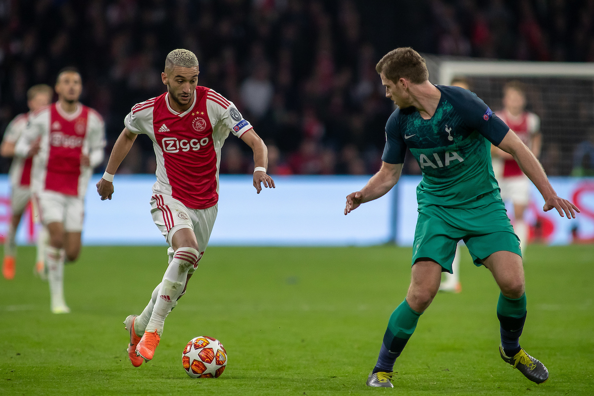 ***NETHERLANDS OUT*** Hakim Ziyech of Ajax Amsterdam and Jan Vertonghen of Tottenham Hotspur during the UEFA Champions League Semi-Final match at Amsterdam Arena, Amsterdam Picture by Sjoerd Tullenaar/Focus Images Ltd +31655744888 08/05/2019