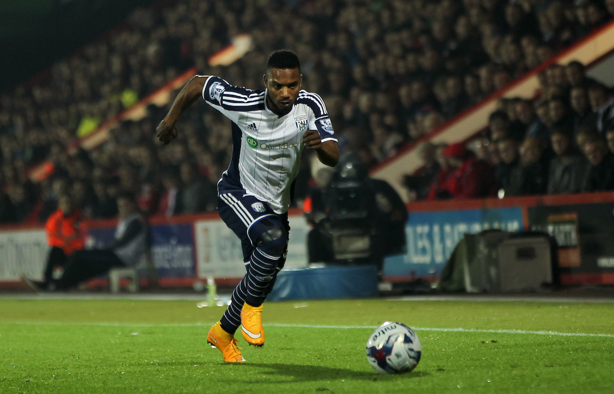 Stéphane Sessegnon of West Bromwich Albion in possession of the ball during the Capital One Cup match at the Goldsands Stadium, Bournemouth Picture by Tom Smith/Focus Images Ltd 07545141164 28/10/2014