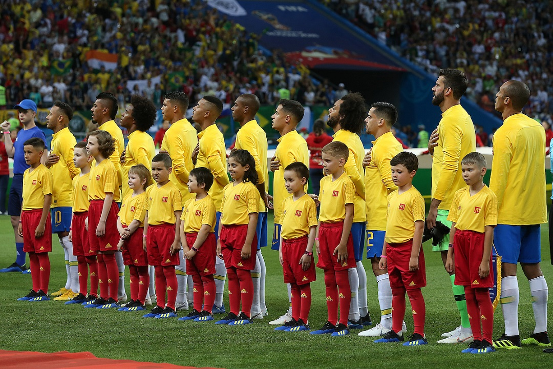 The Brazilian players sing the National Anthem before the 2018 FIFA World Cup Quarter-Final match at Kazan Arena, Kazan Picture by Paul Chesterton/Focus Images Ltd +44 7904 640267 06/07/2018