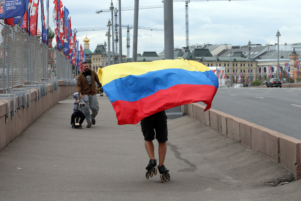 A Colombia fan crosses the Bolshoy Moskvoretskiy Bridge near Red Square, Moscow on roller skates before the 2018 FIFA World Cup match at Spartak Stadium, Moscow Picture by Paul Chesterton/Focus Images Ltd +44 7904 640267 03/07/2018