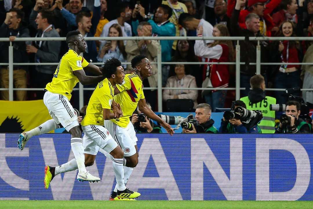 Yerry Mina of Colombia celebrates scoring the 1:1 equaliser at 93' during the 2018 FIFA World Cup match at Spartak Stadium, Moscow Picture by Paul Chesterton/Focus Images Ltd +44 7904 640267 03/07/2018